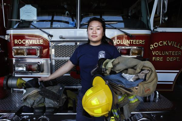 Nancy Chen chose to go to community college at Montgomery College. On Monday nights, she works for the Rockville Volunteer Fire Department.