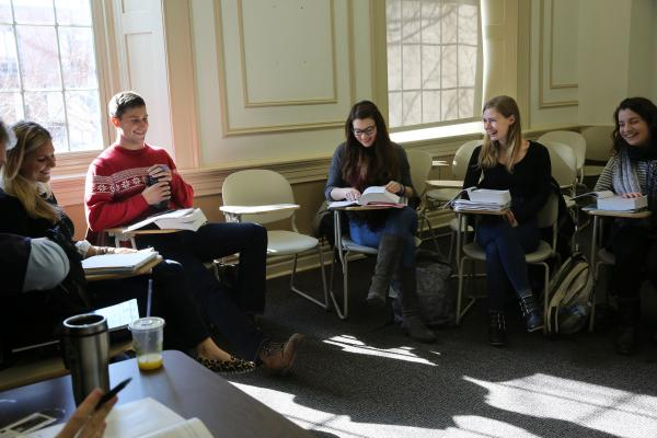 Margie Fuchs sits in one of her favorite classes at Georgetown University, Romantic Poetry, taught by Professor Duncan Wu.