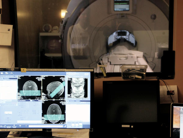 One of the study participants undergoes an MRI scan, to help researchers figure out which parts of the brain's facial recognition system change with age.