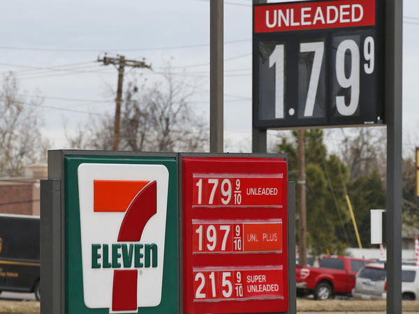 Gas prices seen at an Oklahoma City 7-Eleven in December. Amid a state budget slump, Oklahoma lawmakers are considering raising gas taxes for the first time in 30 years.