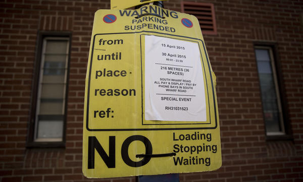 A suspended parking sign that was posted in London in 2015. Joshua Browder, a 20-year-old from London, who's now attending Stanford, has come up with a bot that can write letters appealing parking tickets. He claims a 60 percent success rate in cities where it is being used, including London, New York and Seattle.