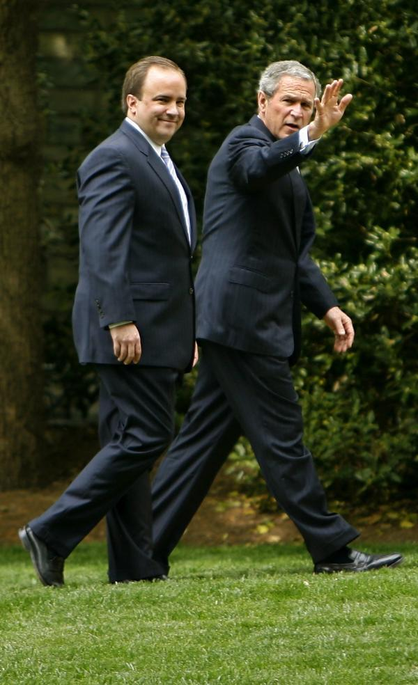 President George W. Bush and press secretary Scott McClellan walk to the West Wing in 2006, shortly before McClellan resigned.
