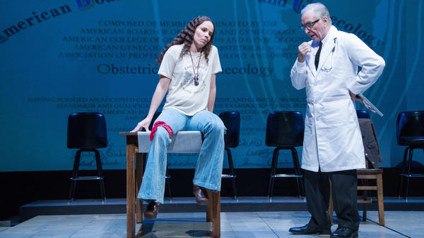 """The play <em>Roe</em> shows Norma McCorvey, aka """"Jane Roe,"""" (Sarah Bruner) pleading with her doctor (Richard Elmore) to give her an abortion."""