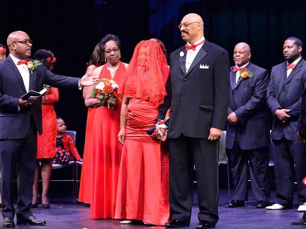 At Ed Roy and Mary Johnson-Roy's 2015 wedding, Oshea Israel (at far right) served as a groomsman.