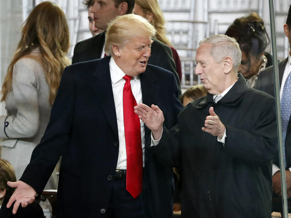 President Trump and Defense Secretary James Mattis speak on Inauguration Day. Mattis travels to South Korea and Japan this week in the administration's first major foreign trip.
