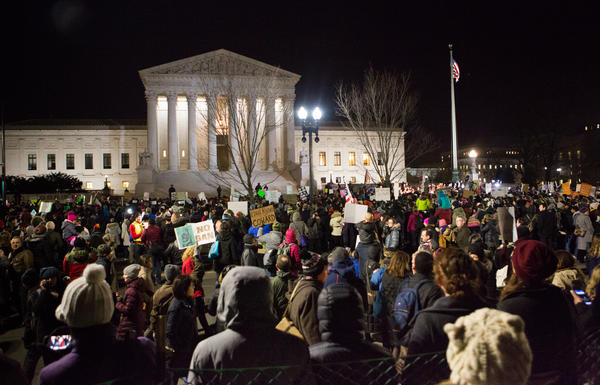 Monday's rally outside the U.S. Supreme Court in Washington, D.C., overflowed the sidewalk and filled the street.