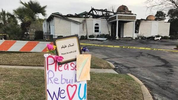 An image from the Victoria Islamic Center shows the mosque after a devastating fire last weekend. The congregation has received support and donations topping $1 million.
