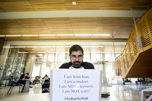 UT-Austin Ph.D student Navid Yaghmazadeh, who was born in Iran, says he wants his fellow students to see him as someone who's affected by President Trump's immigration ban.