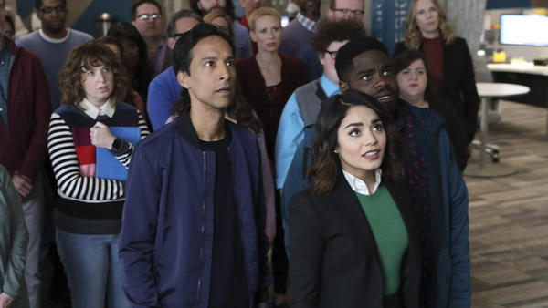 (l-r) Look! Up in the break room!: Jennie Pierson, Danny Pudi, Vanessa Hudgens and Ron Funches star in <em>Powerless</em>.