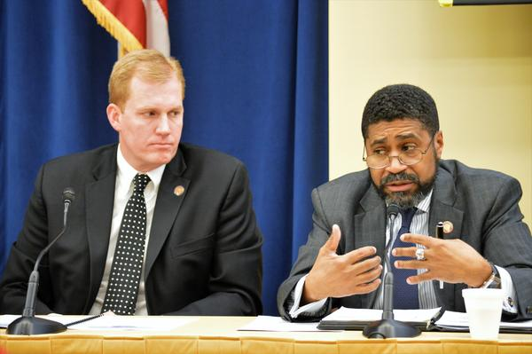 Rep. Ryan Smith (R-Bidwell), House Finance Committee Chair, and Rep. Fred Strahorn (D-Dayton), House Minority Caucus Leader, sit in on the 2017 AP Forum.
