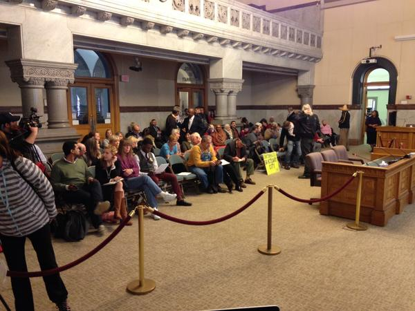 Supporters and opponents in Cincinnati City Hall as council voted to approve the sanctuary city resolution.