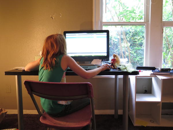 An Epic Virtual Charter School student in Oklahoma City uses her computer as her classroom.