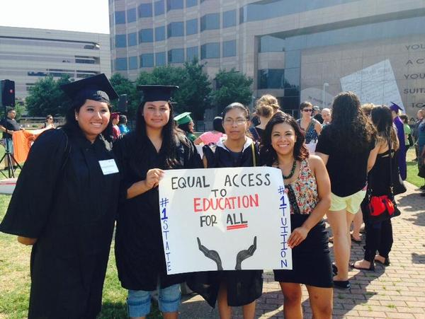 "Yazmin Garcia Rico (far right) joins friends at an ""Undocugraduation"" event in front of the General Assembly to adovcate for equal access to education"