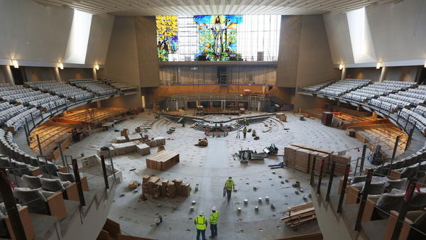 The new sanctuary that's about to open at the United Methodist Church of the Resurrection's main campus has the largest single stained glass window in the world.