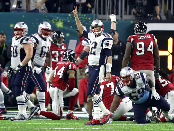 Tom Brady of the New England Patriots calls for a two-point try in the fourth quarter of the Super Bowl. The Patriots converted that attempt to send the game into overtime.
