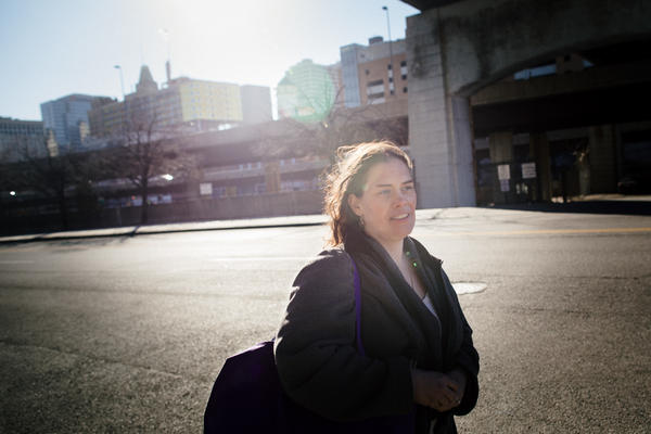 Athena Haniotis leaves the Health Care for the Homeless clinic in downtown Baltimore.