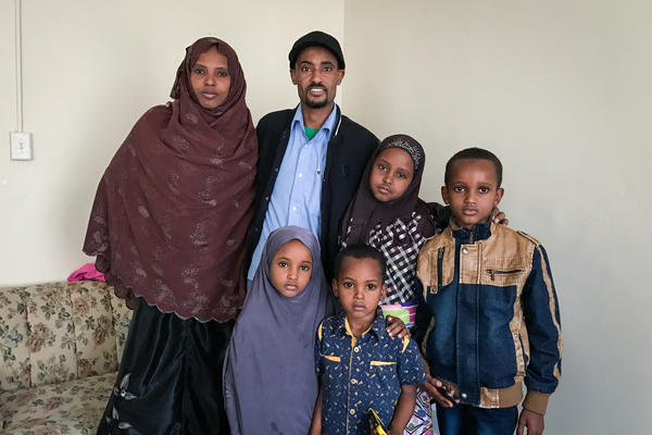 Mohamed Muhumed was recently reunited in Lancaster, Pa., with his wife, Ferehiya Areb Tahir, and their four children, who arrived in the U.S. from a refugee camp in Ethiopia 10 days before President Trump announced his temporary suspension of the refugee program.