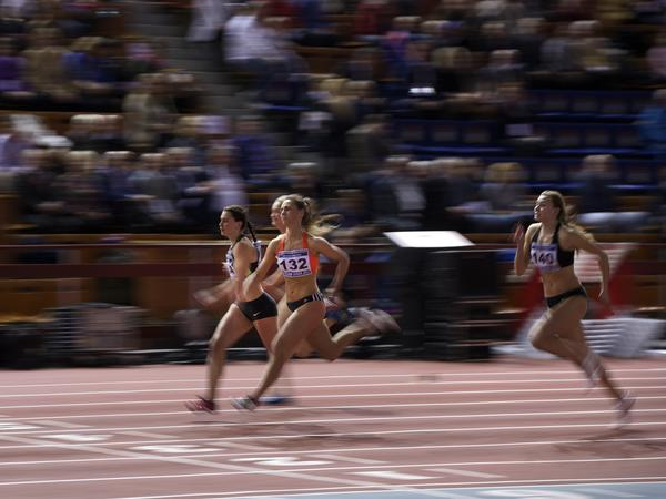 Anastasiya Grigoryeva (center) during a 60-meter heat at the Russian Winter national athletics meet in Moscow on Sunday.
