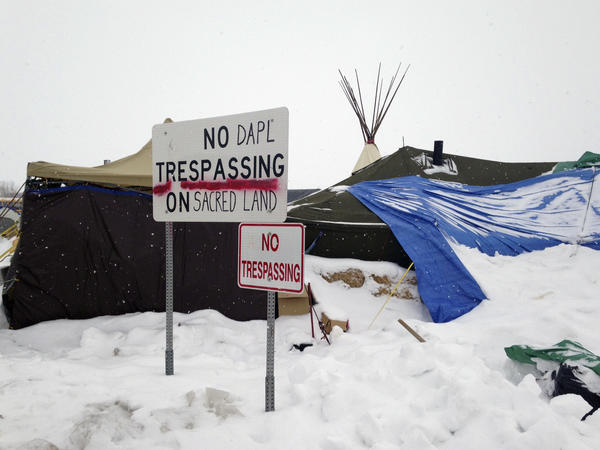 Protesters have stayed near the Dakota Access Pipeline site during the winter.