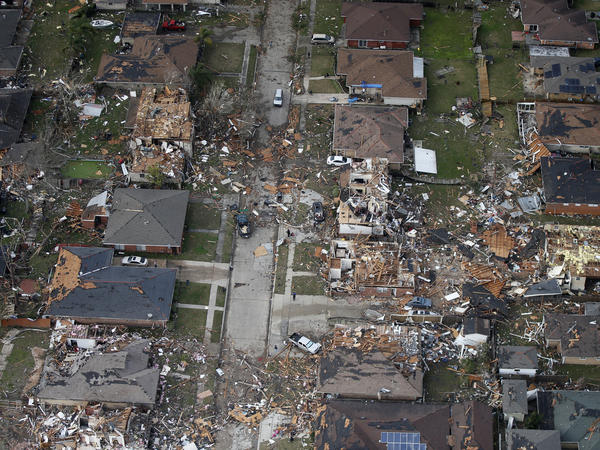 An aerial image shows the destruction in a neighborhood in eastern New Orleans after a tornado touched down there Tuesday. Louisiana's governor has declared a state of emergency.