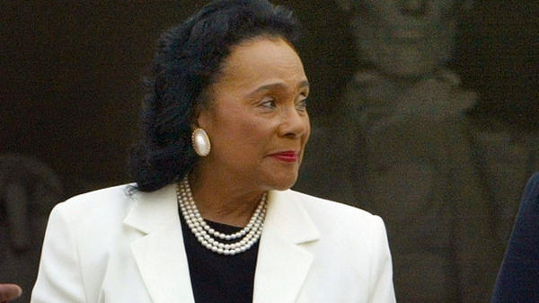 A nine-page letter written by Coretta Scott King is attracting new attention for its critical comments about Sen. Jeff Sessions. King, who died in 2006, is seen here at the Lincoln Memorial in 2003.
