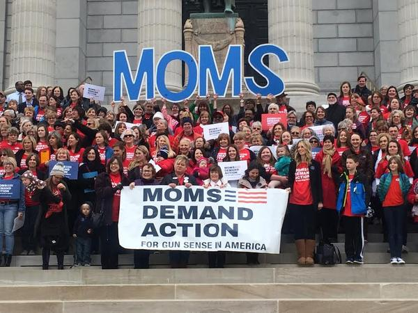 The Moms Demand Action group poses for a photo Wednesday at the Missouri Capitol.