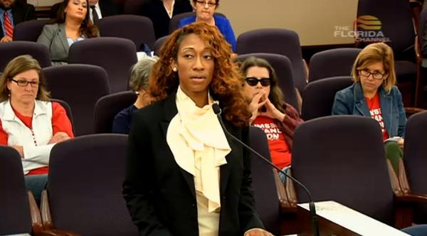 Marissa Alexander speaking before the Senate Rules committee Thursday on behalf of a Stand Your Ground-related bill.