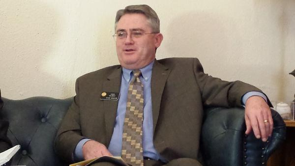Republican Senate Majority Leader Chris Holbert at a media briefing.