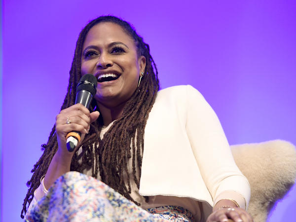 Director Ava DuVernay of 'The 13th' speaks at a film festival at the Arlington Theatre on February 7, 2017.
