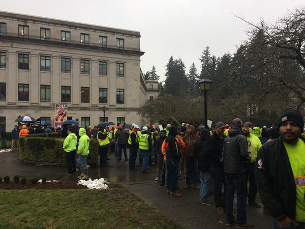 Union members swarmed to the Washington State Capitol in Olympia during a committee hearing Wednesday, in protest of a proposed ''Right to Work'' law.