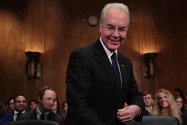Tom Price, pictured during his Senate hearing on Jan. 18, has been confirmed as secretary of the Department of Health and Human Services.