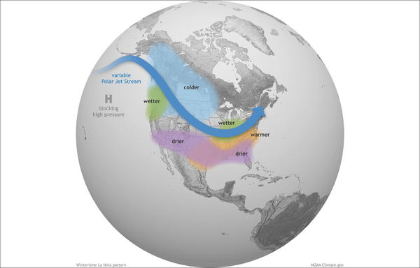 This graphic depicts a typical La Niña winter pattern.