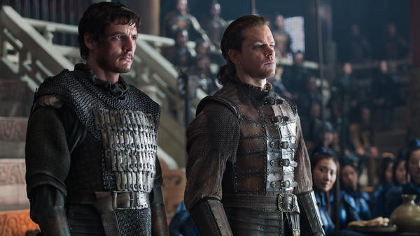"""... For The Night Is Dark And Filled With Lizard-People"": Pero (Pedro Pascal) and William (Matt Damon) in <em>The Great Wall</em>."