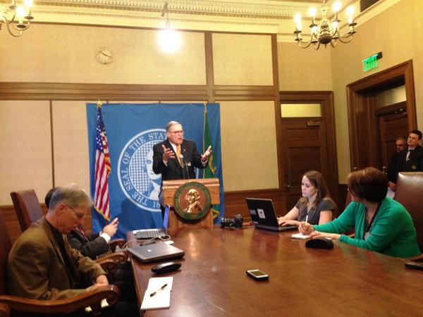 Washington Governor Jay Inslee gestures during a news conference to express his ire over the state Senate's vote to oust his Secretary of Transportation