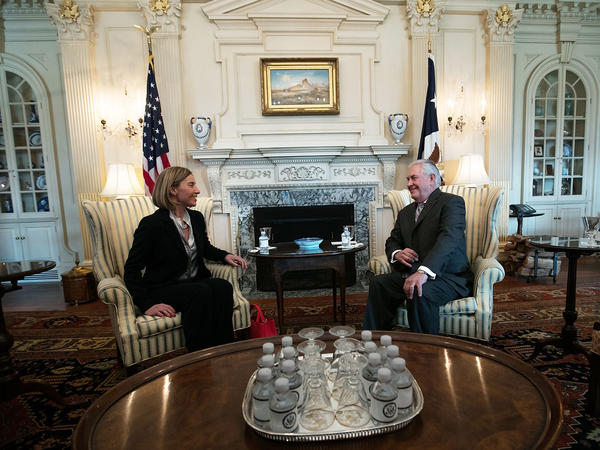 The European Union's top diplomat, Federica Mogherini met with U.S. Secretary of State Rex Tillerson at the State Department.