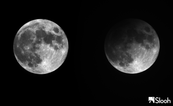 A diptych of the lunar penumbral eclipse in progress, as seen by Slooh Community Observatory telescopes in the Canary Islands.