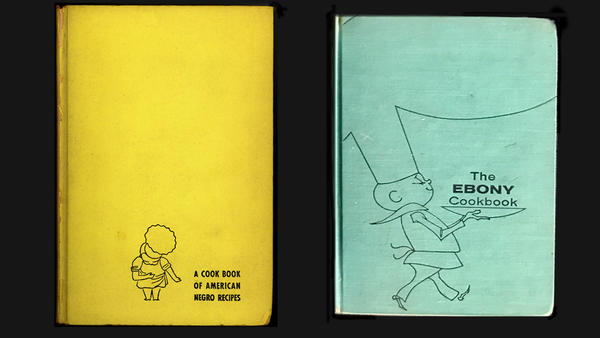 Covers from two editions of Freda DeKnight's cookbook. The first edition was called <em>A Date With A Dish</em>. Later updates were rebranded as <em>The Ebony Cookbook.</em>