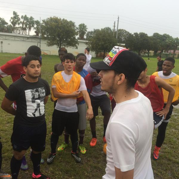 Freddy Mendoza, a sophomore at Silverlake College, has organized tryouts for Miami high school players two years in a row.