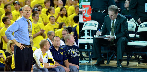John Beilein (left) and Tom Izzo (right) are in danger of both missing out on the NCAA tournament this year.