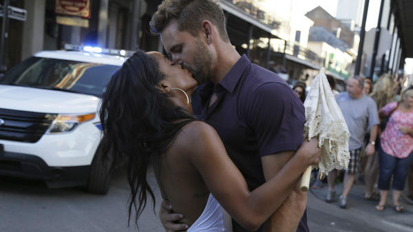 Rachel and Nick smooch in a highly realistic, tooooootally normal romantic situation on <em>The Bachelor</em>. Spoiler alert: He isn't going to pick her, because she's the next Bachelorette.