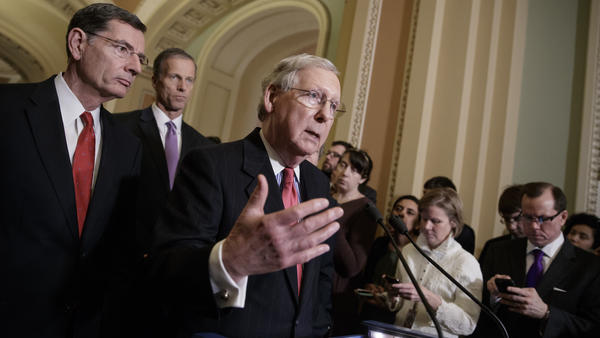 Senate Majority Leader Mitch McConnell and other GOP leaders take questions from reporters about President Donald Trump's ousted national security adviser, Michael Flynn, on Tuesday.