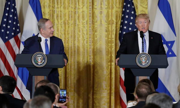 President Trump and Israeli Prime Minister Benjamin Netanyahu participate in a joint news conference in the East Room of the White House on Wednesday.