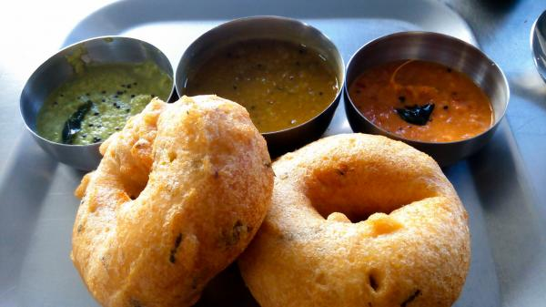 Medhu vadai, with chutneys and sambhar (a lentil-based gravy), are best served piping hot.