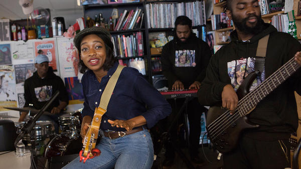 Little Simz performs perform a Tiny Desk Concert on Jan. 23, 2017. (Claire Harbage/NPR)