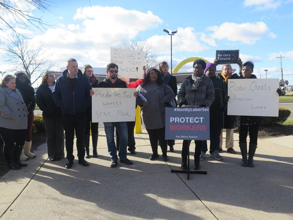 Members of the Ohio AFL-CIO protest Andrew Puzder as President Trump's nominee for Secretary of Labor.