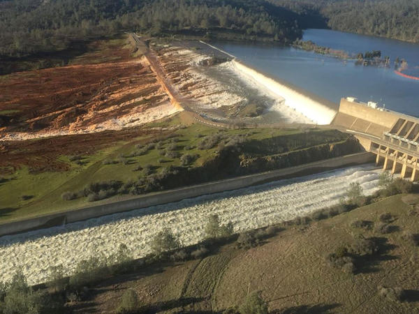 File photo of water overflowing Oroville Dam's auxillary spillway on February 11, 2017. The emergency at the California dam has prompted officials in the Northwest to re-examine evacuation plans.