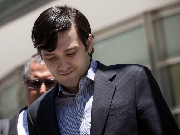 Martin Shkreli, seen here leaving court in New York City last June, faced protests and a false fire alarm during an event Wednesday at Harvard.