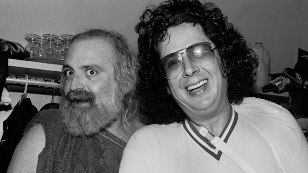 Mark Volman (right) and Howard Kaylan as they pose backstage in Chicago, May 14, 1983.
