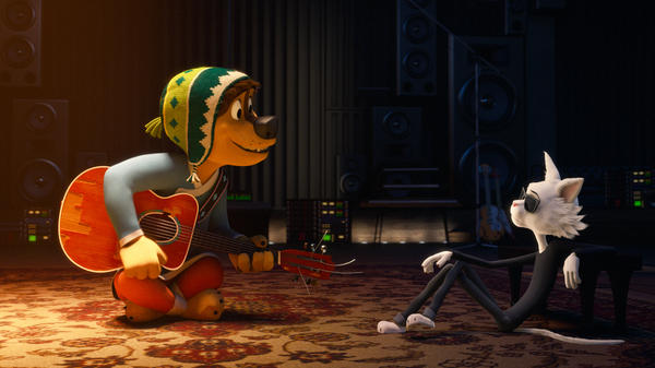 I Don't See A Lot Of Kibble Here: Bodi (Luke Wilson) attempts to impress Angus Scattergood (Eddie Izzard) in <em>Rock Dog</em>.