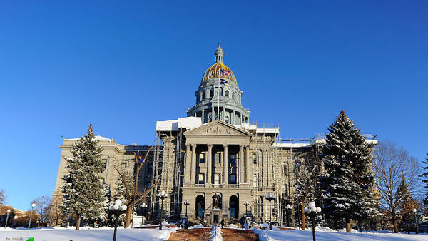 "The state Capitol in Denver in December. The Grand Junction <em>Sentinel</em> has threatened to sue state Sen. Ray Scott after the lawmaker accused the paper of spreading ""fake news."""
